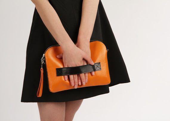 Megan Pumpkin - Handmade Leather Clutch / Leather Purse / Orange Clutch / Pumpkin Handbag