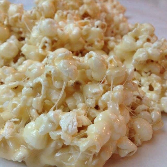 Marshmallow Caramel Popcorn  • 1/2 c. brown sugar • 1/2 c. butter • 9-10 marshmallows • 12 c. popcorn • Microwave brown sugar and butter for 2 minutes, add marshmallows & microwave until melted. • Pour over popcorn.