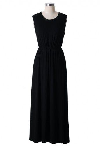 Open Back Long Maxi Dress in Black