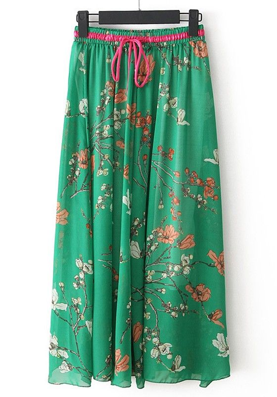 This website!!! omg!! ....Denim jacket, white singlet, scarf, brown boots. Thinking very Nina Proudman. Green Flowers Drawstring High Waist Chiffon Skirt