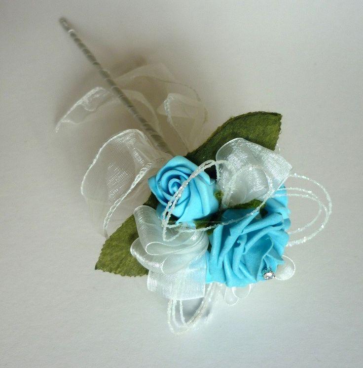 Turquoise flower girl wand