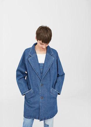 Gemusterter Jeans-Trenchcoat