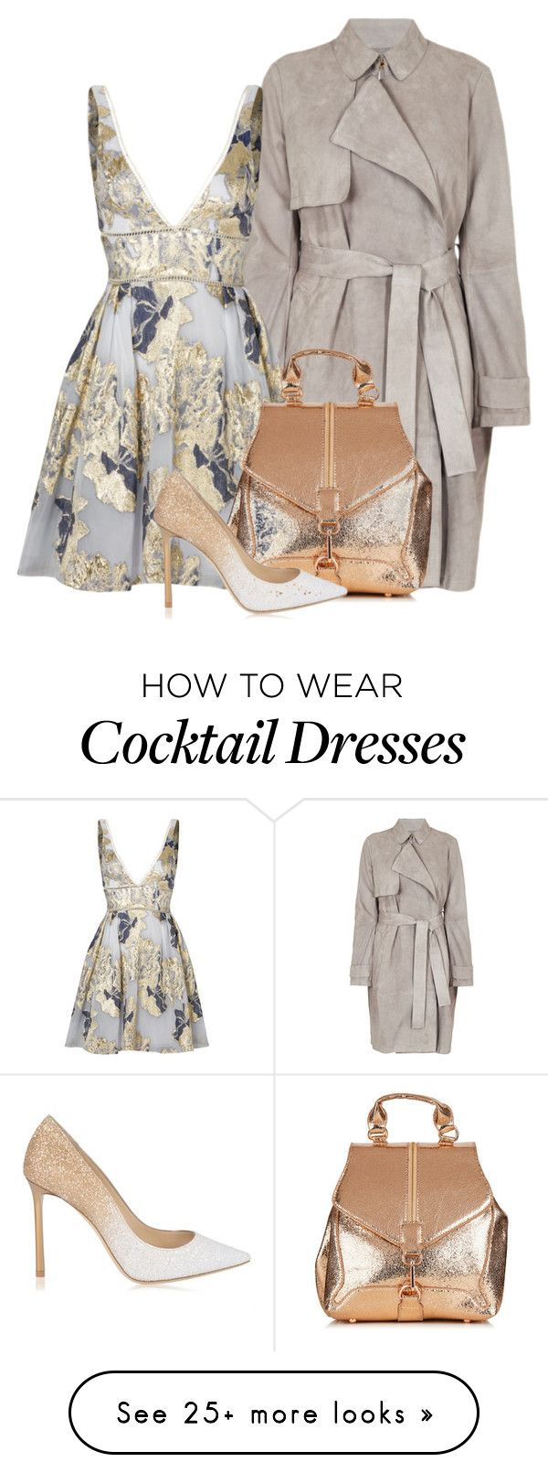 """Metallic Floral"" by cherieaustin on Polyvore featuring HUGO, Notte by Marchesa and Jimmy Choo"