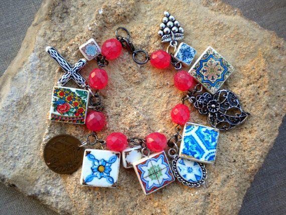 Portugal Antique Azulejo Tile Charm Bracelet with 1949 by Atrio,