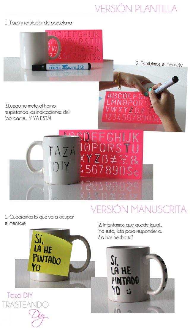 DIY...TAZA PINTADA  painted cup