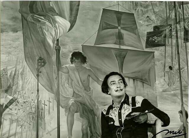 """""""I believe in magic which, ultimately, is merely the power to materialize the imagination in reality. Our super-mechanized age underestimates the attributes of the irrational imagination, which is still the basis of all discoveries."""" #SalvadorDali . . . . . Image: Dali in front of The Discovery of America by Christopher Columbus. ©Meli Casals Image Rights of Salvador Dali reserved. Fundacio Gala-Salvador Dali, Figueres, 2016.©Meli Casals Image Rights of Salvador Dali reserved. Fundacio…"""