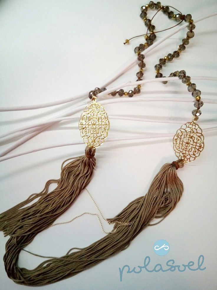 Necklace with gold plated lazer cut elements, iridescent brown /camel stones and brown/camel floss by polasoeljewelry on Etsy