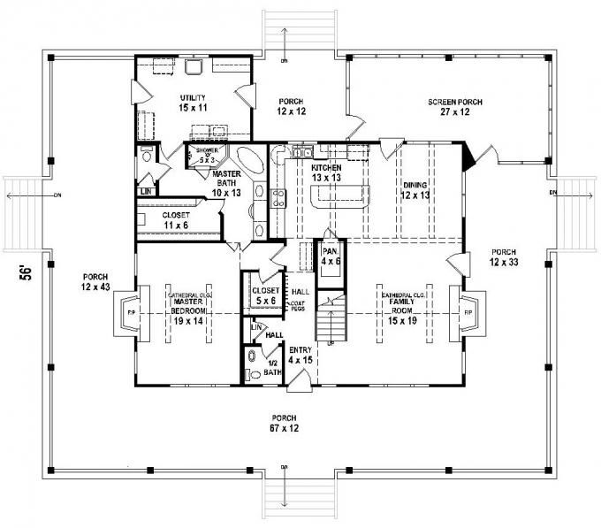 3 bedroom bath southern house plan with wrap around porch house - Utility Bath House Plans