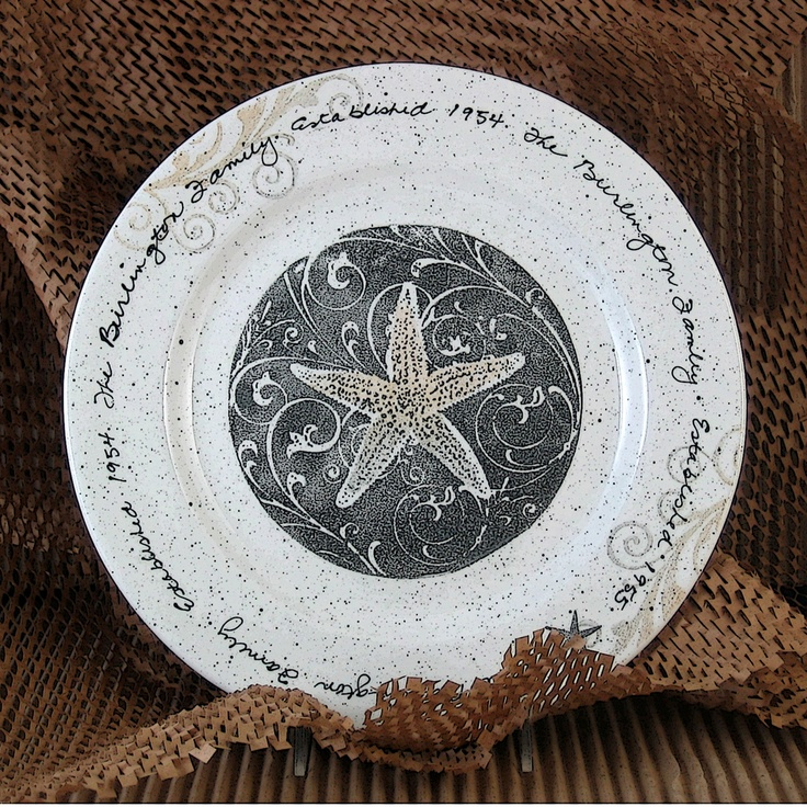 Hand Painted Personalized Wedding Gift Pottery Coastal Plate From Musewarepottery