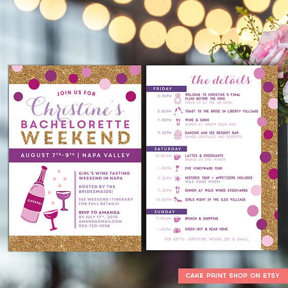 Purple and Gold #Bachelorette Itinerary Bachelorette invite with by CakePrintShop