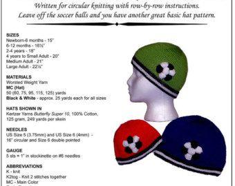 Hand Knitting Pattern Soccer Ball Hats Newborn to Large Adult Knitting Pattern PDF