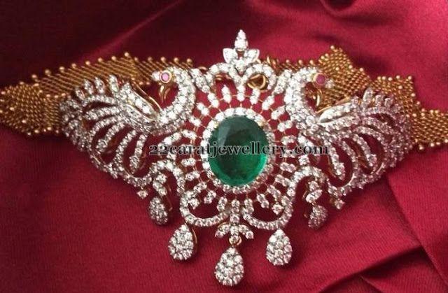 Jewellery Designs: Diamond Bajuband Cum Necklace