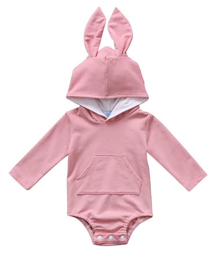Baby Boys Girls Easter Bunny Long Sleeve Bodysuit Cartoon Animal Rabbit Hooded Romper With Fur Ball