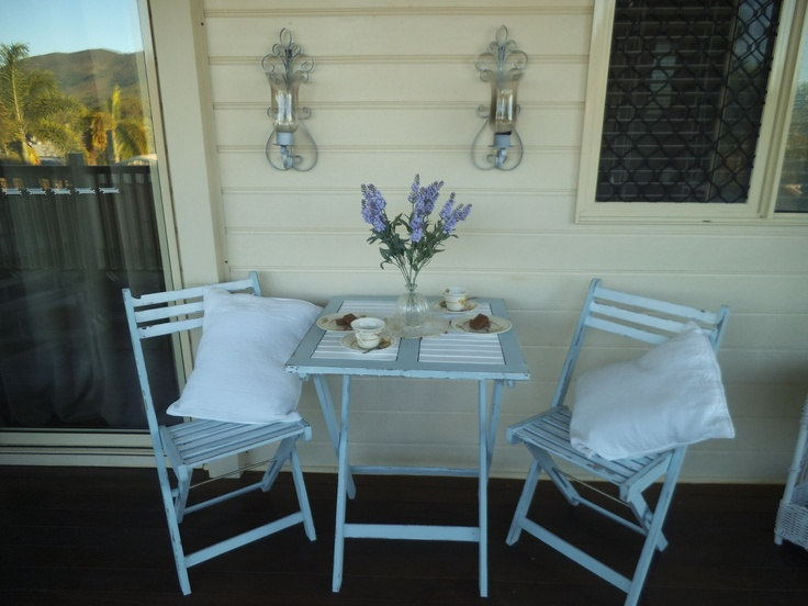 I love to shabby in different colours. This blue and white outdoor setting sold within minutes of posting.
