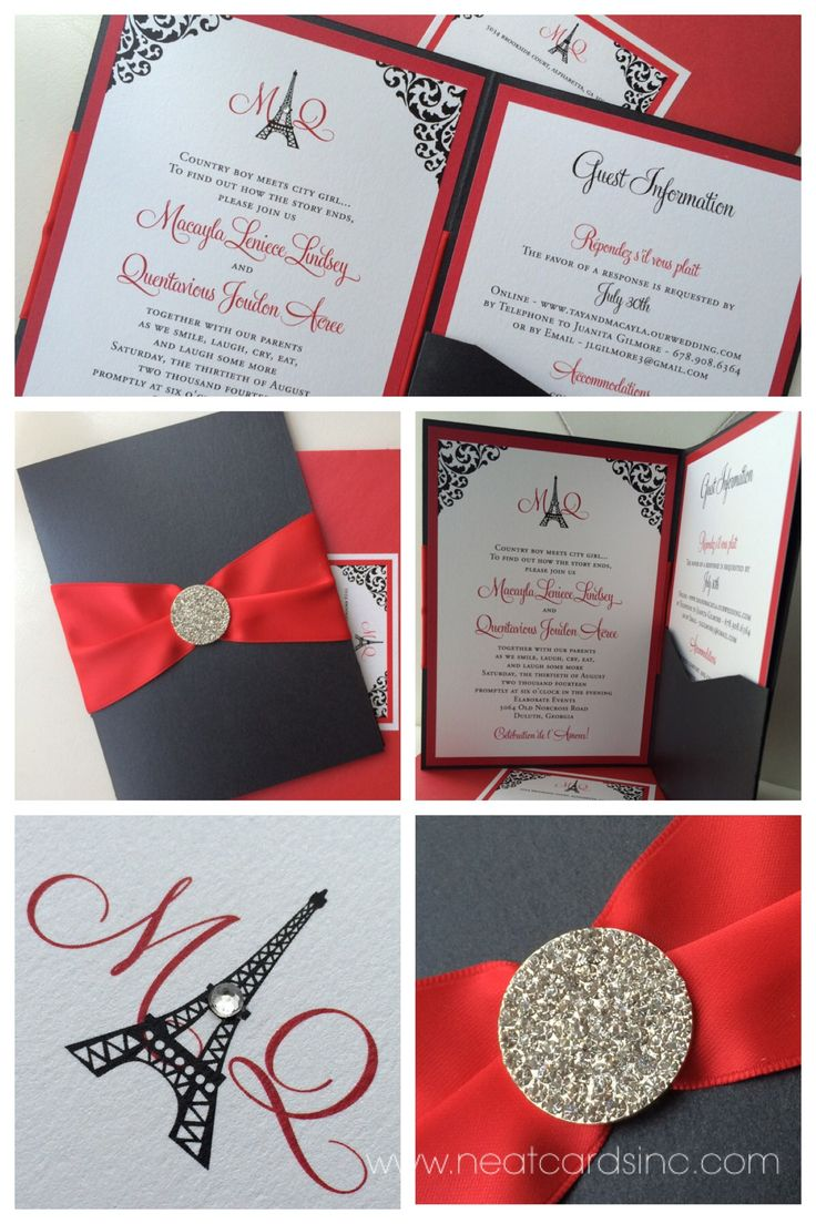 Best Red and Black Wedding Invitations | Lenq.me