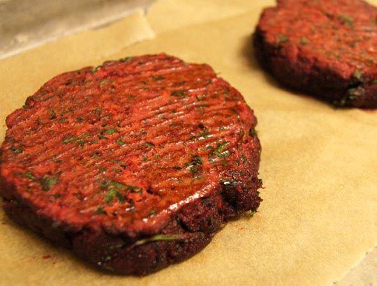 Beet This Burger - juice pulp (beet, fresh parsley, carrots), eggs, garlic powder, onion powder, salt, chili powder, cumin, turmeric, butter (for cooking, optional)