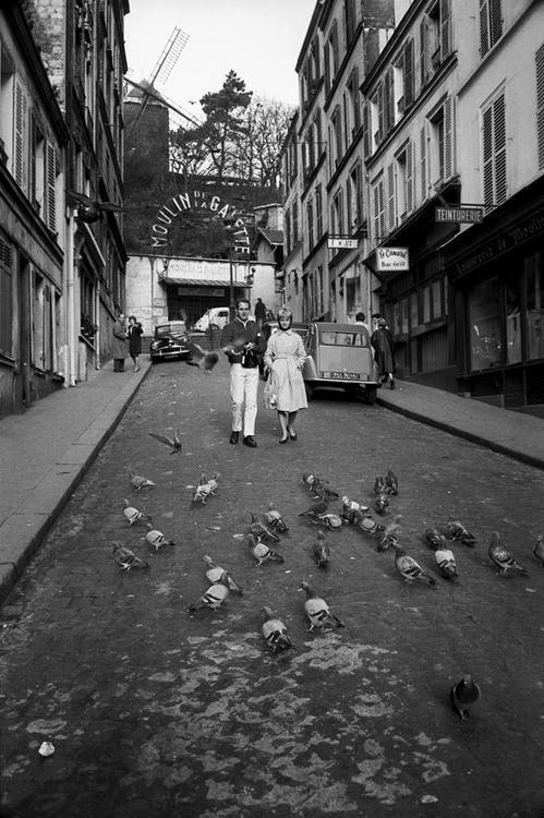 Montmartre, le moulin de la Galette. París 1960.