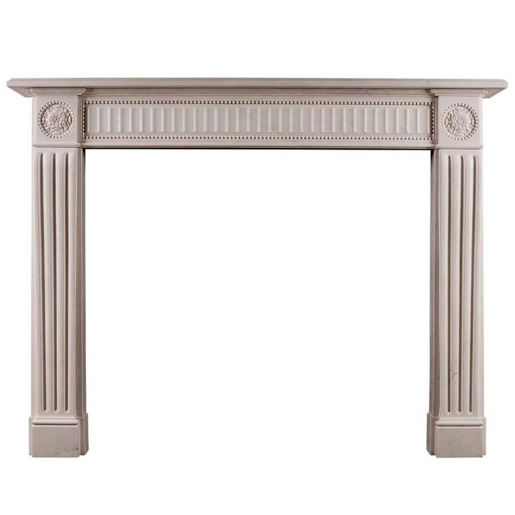 English White Marble Fireplace In The Regency Style
