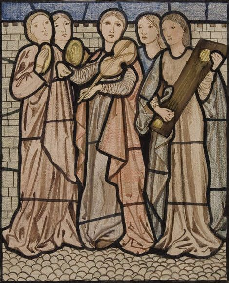 The Song of Solomon - I Charge You, O Daughters of Jerusalem. Design for stained glass by Edward Burne-Jones, 1862-63.