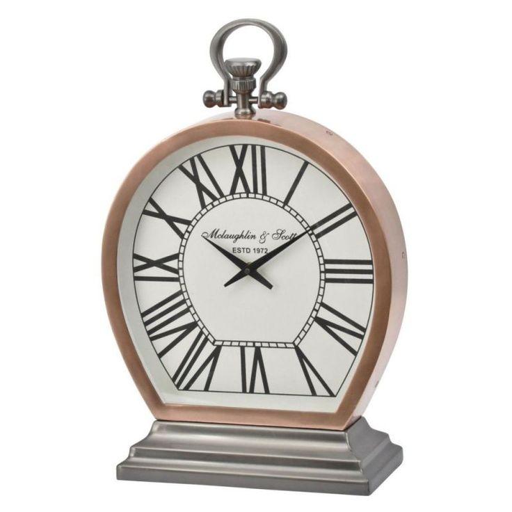 Charleston Copper Round Mantel Clock - Small