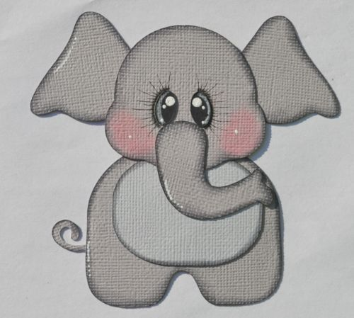 Premade-Baby-Elephant-Paper-Piecing-for-Premade-Scrapbook-Layout-Page-Album-Zoo
