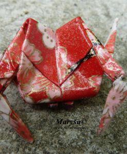 Red origami crab.