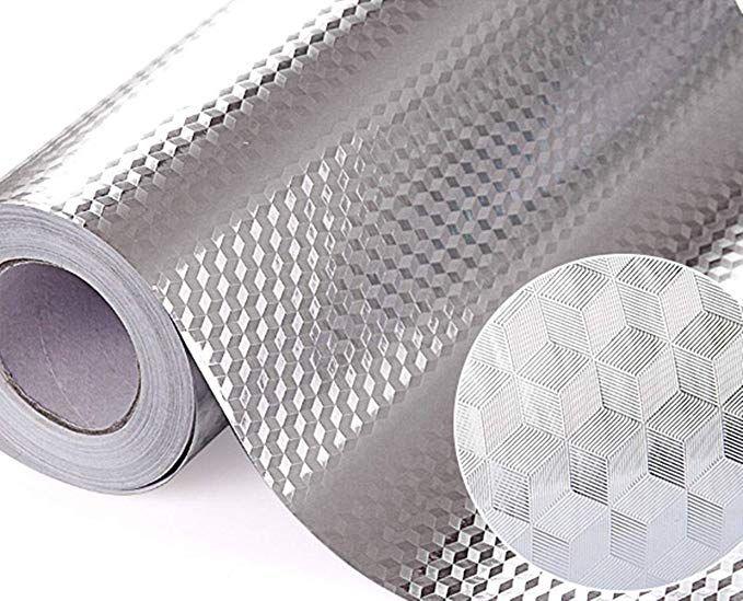 Amazon Com Tooldeco Sliver Kitchen Backsplash Sticker Aluminum Foil Peel Stick Paper Wall Paper Diy Drawer C Shelf Liner Paper Diy Drawers Paper Drawer Liner