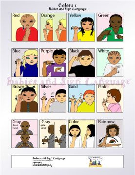 colors sign language chart to download   ... poster showing illustrated toddlers signing different signs for colors