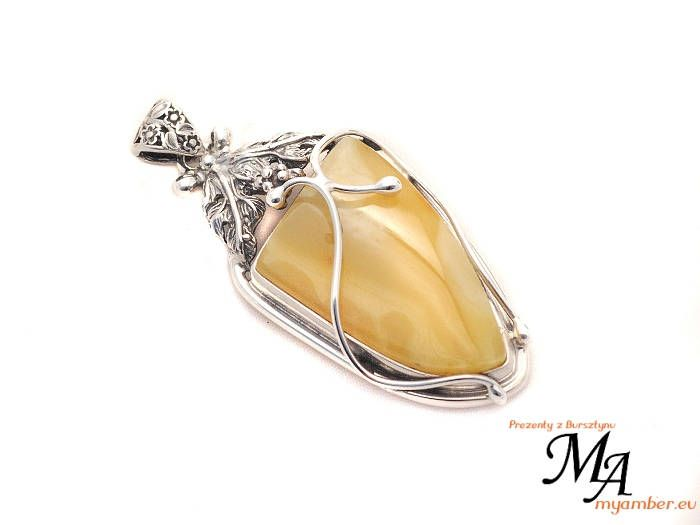 Amber stone Pendant Silver sterling 13825 AUTHOR'S +Certificate myamber.eu