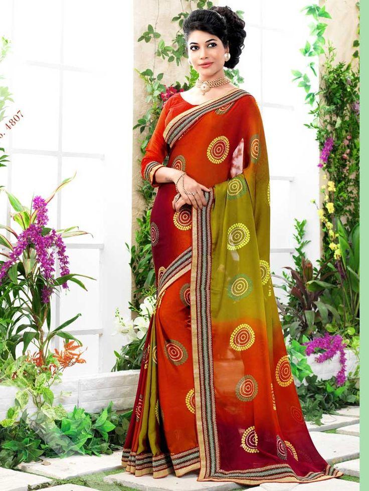 Multi Bandhej Print Embroidered Bandhni Saree