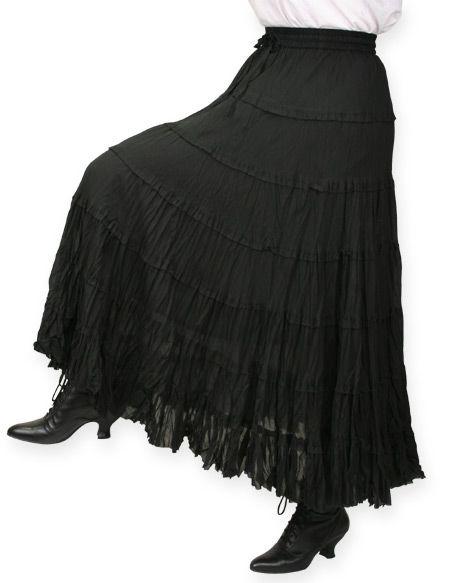 1800s Ladies Black Cotton Solid Work Skirt | 19th Century | Historical | Period Clothing | Theatrical || Marisol Prairie Skirt - Black