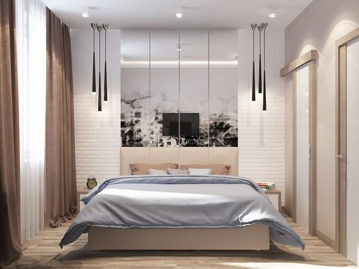 Квартира в стиле лофт. Спальня