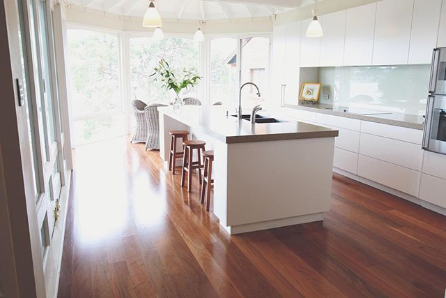 Another one of our jobs, with 130mm Brushbox in Select grade - looks beautiful against white with a touch of green || #setimber #timber #brushbox #australiantimber #select #design #interiordesign #floor #floors #flooring #simple #white #home