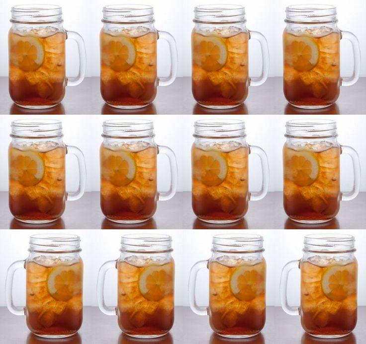 rustic bridal wedding set lot 12 handled clear mason jar drinking glasses mugs - Mason Jar Drinking Glasses