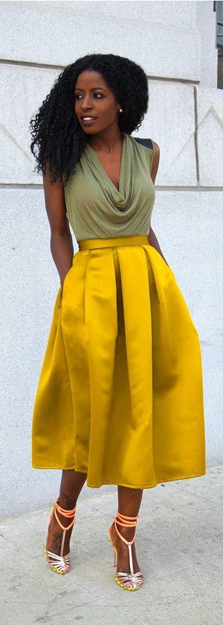 Cowl Neck Blouse + Moss Box Pleat Skirt Lime Green Yellow Satin Midi Skirt #UNIQUE_WOMENS_FASHION
