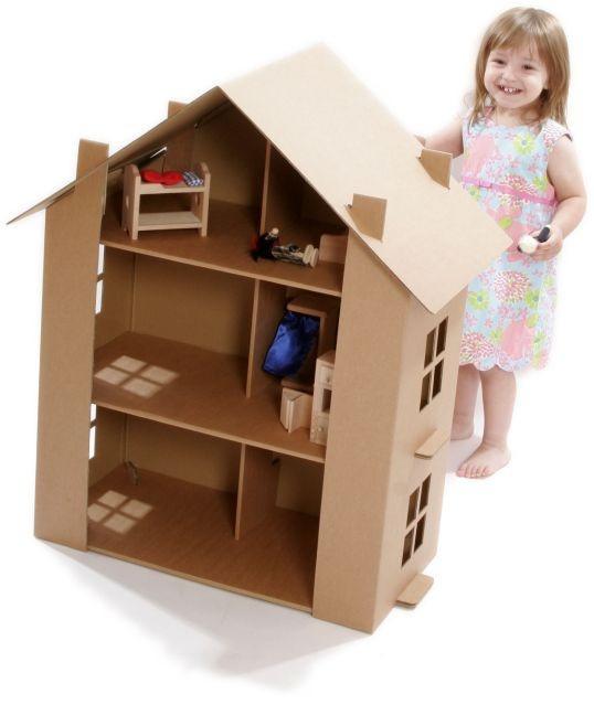 Casita de pisos de cartón • DIY Cardboard Dolls House