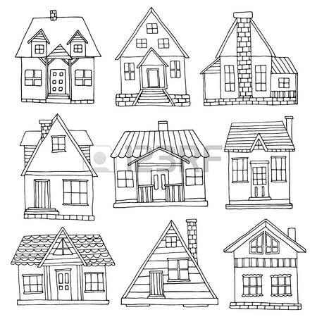 House House Set Hand Drawn Cute Cabins Collection
