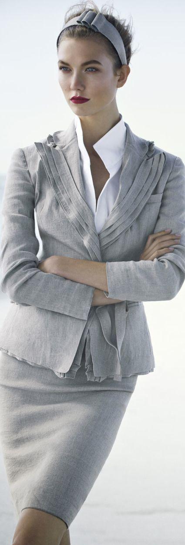 Donna Karan. Beautiful interpretation of a classic suit.  Karlie Kloss in Donna Karan for Neiman Marcus.