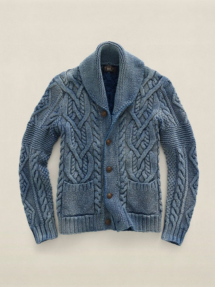 RRL Hand-knitted indigo dyed cardigan. Great finish, like faded jeans.