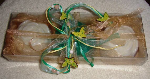 Beige Summer Handmade Gift Set very nice decorated with 3 small flowers Scented Luxury Soaps - two White and one Blue - Green - Aqua.  The perfect gift for Graduation, a very elegant, stylish gift for any occasion: Father Day, Mother Day, Anniversary, Feast, Engagement, Birthday, Congratulation, any Celebration, any Ceremony, Party… you name it!