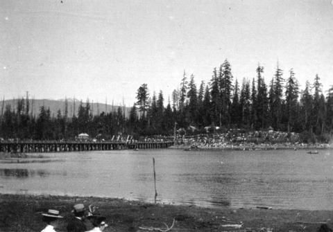 [The Coal Harbour bridge and Stanley Park from the foot of Denman Street] - City of Vancouver Archives