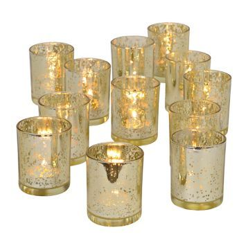 Gold Mercury Glass Votive Holders, Set of 12 $20 3""