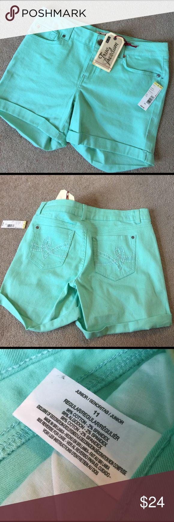 Mint green Jean shorts. Nwt 98% cotton 2% spandex. 4 1/2 inch inseam. A O True Freedom Shorts