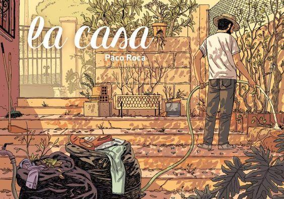 """""""La casa"""" Paco Roca. Los tres hermanos protagonistas de esta historia volverán un año después de la muerte de su padre a la casa familiar donde crecieron. Su intención es venderla, pero con cada trasto que tiran se enfrentan a los recuerdos. Temen estar deshaciéndose del pasado, del recuerdo de su padre, pero también del suyo propio."""