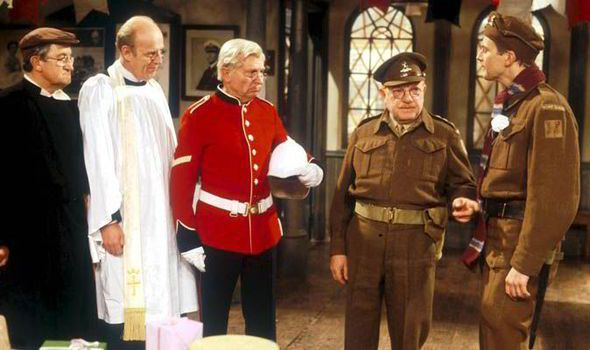 Actors from Dad's Army, from left, Edward Sinclair, Frank Williams, Clive Dunn and Arthur Lowe