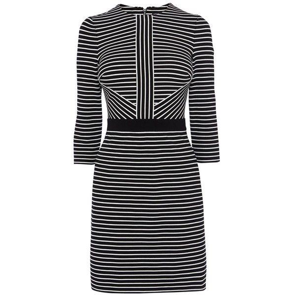Karen Millen Stripe Jersey Dress, Black/White ($215) ❤ liked on Polyvore featuring dresses, shift dress, striped maxi dress, black and white stripe dress, sleeve maxi dress and jersey dress