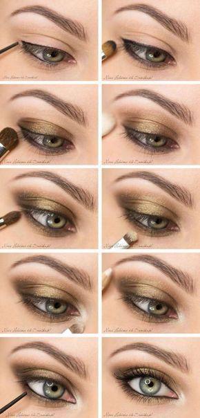 Maquillage doré pour les fêtes. 15 tutos de maquillages pour les yeux que vous allez adorer