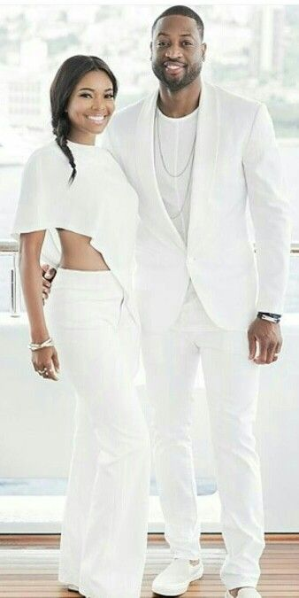 ♡@gabunion and @dwyanewade in Monaco. Loving the all white. Pre-wedding Dinner look inspiration.