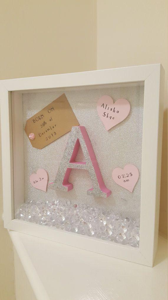 New Baby Arrival Gift Detail Box Frame/ Christening gift