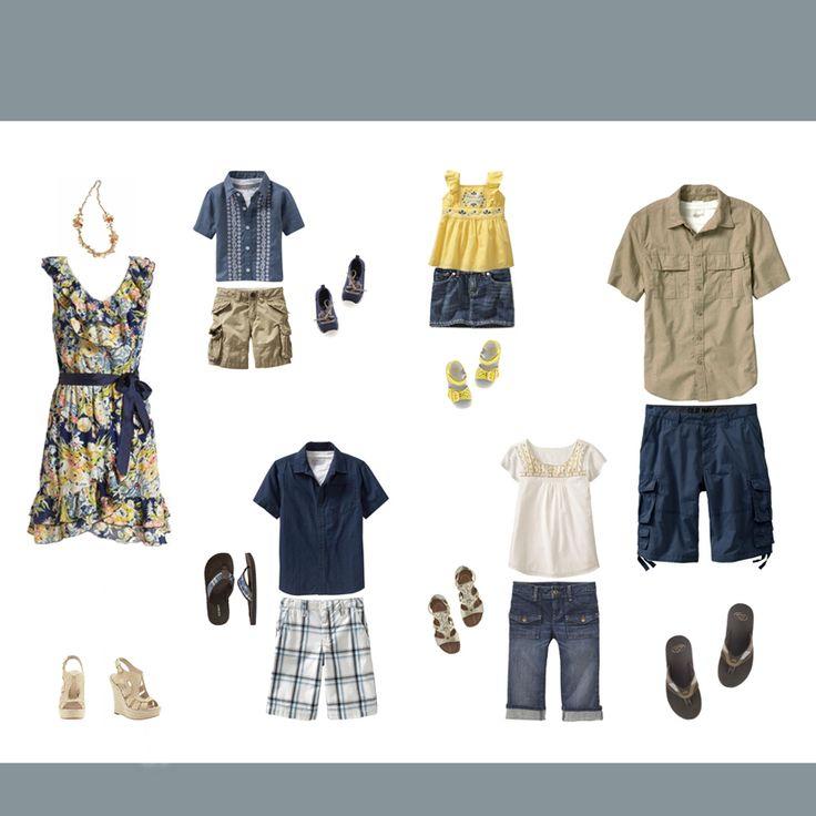 Summer Yellow Blue Navy Color Scheme For Family Photos ...